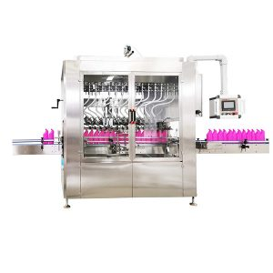 Gravitációs típusú szögletes palackos folyadéktöltő gép